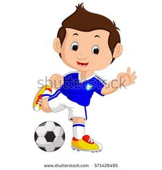 vector illustration of Cartoon boy playing football