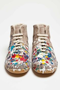 Maison Martin Margiela - Replica Leather Sneaker Mid Paint - TRÈS BIEN $455.55 leather isn't good but the style is