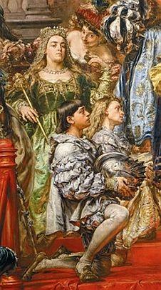 Faktyczną twórczynią hołdu była Królowa Bona Sforza d'Aragona, królowa Polski, wielka księżna litewska, księżna Rusi, Prus i Mazowsza i żona Króla Polski Zygmunta Starego.Królowa Polski, wielka księżna litewska, księżna Rusi, Prus i Mazowsza itd., księżna Mediolanu, Bari i Rossano Hołd Pruski na Goldzie Rynku Krakowskiego, Jan Matejko Królowa Bona, tu na obrazie twarz żony Matejki Teodory z Giebułtowskich Matejkowej. Retratos, Pinturas, Lituania, Historia, Pinturas Antiguas, Aragón, Historia Del Mundo, Bari, Pesto