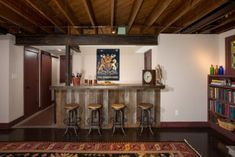 lower level remodel, finished basement, home bar, custom bar, rustic basement remodel, custom woodwork, basement remodel by MARK IV Builders