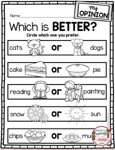 OPINION WRITING for kindergarten and first grade writer's workshop - how to teach opinion writing - sentence starters - writing prompts - free printables activities and worksheets for primary students Writing Curriculum, Writing Lessons, Teaching Writing, How To Teach Writing, First Grade Curriculum, Homeschooling, First Grade Freebies, First Grade Worksheets, Fun Worksheets For Kids