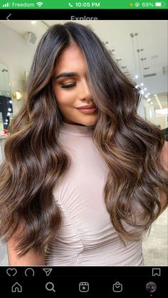 Hair Color For Brown Skin, Brown Wavy Hair, Colored Curly Hair, Balayage On Brunette Hair, Hair Color For Morena Skin, Ombre Hair, Dark Hair, Shatush Hair, Brown Hair Inspo
