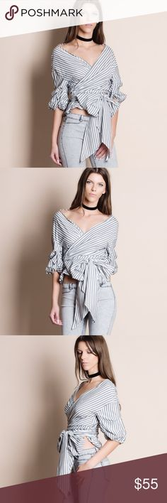 Striped Off Shoulder Wrap Top Striped off shoulder wrap top. Tie with a bow in front. Bare Anthology Tops Blouses