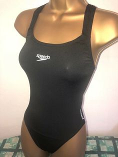 654a15d7ac SEXY LADIES SPEEDO ENDURANCE BLACK RACERBACK SWIMSUIT SIZE 10 34
