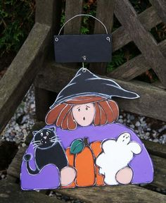 Purple witch with black cat, pumpkin and ghost hanging on the door for Halloween! Cat Pumpkin, Witch, Snoopy, Boutique, Christmas Ornaments, Purple, Holiday Decor, Etsy, Fictional Characters