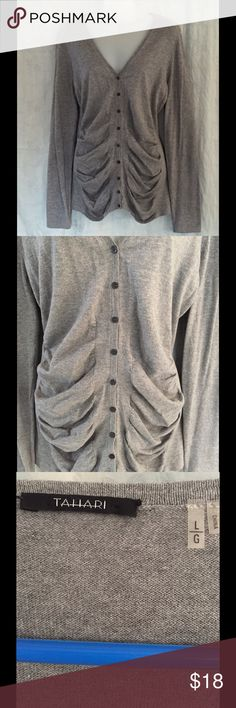 Tahari button down rushed cardigan EUC gray cardigan with ruching in the front. Size L but fits a bit small Tahari Sweaters Cardigans