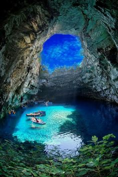 Lake of Melissanthi, Cephalonia island, Greece.