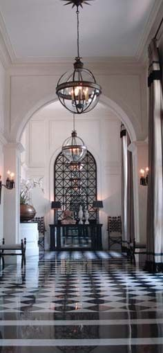 Jean Louis Deniot - lighting + graphic floors and patterned door/archways