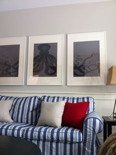 Another diy octopus triptych framed wall art piece. See the one on CC here:  http://www.completely-coastal.com/2011/05/octopus-triptych-diy-art-project-idea.html