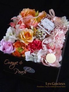 札幌Lys Gracieux〜リスグラシュ〜ポーセラーツ・フラワー・クレイ Happy Mother's Day Yellow & Peach Color Flower Arrangement