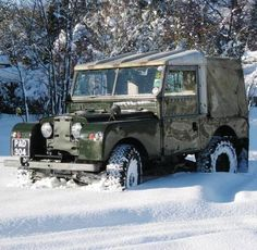 "Land Rover 86 Serie One pickup with soft canvas - PAD 304 86"" in snow"