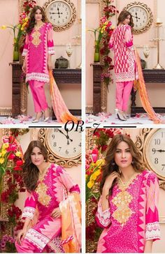 Womens #Fashion #Pakistani #Designer #Suits #Haute #Couture for #work / #Party and #Casual #wear- #Pink #Shirt #Pink #Bottom #Embroidered #cotton #lawn #suits #with #chiffon #dupatta