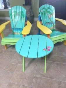 Hand Painted Andirondack Chairs With The Theme Of Beach Design, Blue And Green Calm Color,and Round Table With Flower Design
