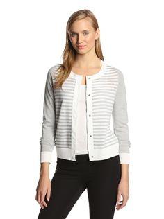 M.Patmos Women's Pointelle Stripe Boatneck Sweater (Grey Heather/White)