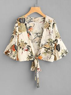 Material: Polyester Color: Multi Color, Apricot Pattern Type: Print Collar: Collarless Style: Casual, Vacation Type: Crop Decoration: Ruffle, Bow Sleeve Length: Half Sleeve Fabric: Fabric has no stretch Season: Summer Shoulder(Cm): S:37cm, M:38cm, L:39cm Bust(Cm): S:96cm, M:100cm, L:104cm Length(Cm): S:45cm, M:46cm, L:47cm Sleeve Length(Cm): S:34cm, M:35cm, L:36cm Size Available: S,M,L