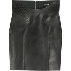 Jitrois High-Waisted Leather Skirt ($1,170) ❤ liked on Polyvore featuring skirts, black, leather, women, high-waisted skirts, fitted skirts, knee length leather skirt, textured skirt and high-waist skirt