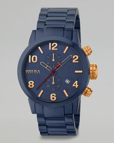 Isabella Chronograph, Navy-Plated by Brera at Neiman Marcus.  Love love rose god combined with blue!!