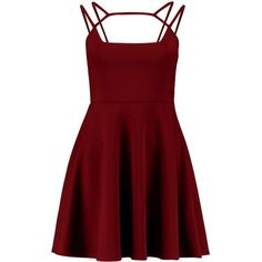 Boohoo Casey Strappy Detail Skater Dress ($26) ❤ liked on Polyvore featuring dresses, red maxi dress, maxi dress, party dresses, tuxedo dress and red sequin dress