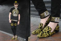 Andre Judd - Medusa Gold Foil Print Tee, Medusa Embroidered Jeans, Baroque Embroidered Slipons, Medusa Embroidered Cap - VERSACE, VERSACE, VERSACE