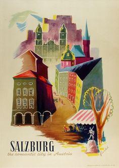 Salzburg - The Romantic City in Austria, by Fische, ca.1955, via vepca