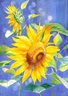 Sunflower giclee art print von maryellengolden auf Etsy, $60.00