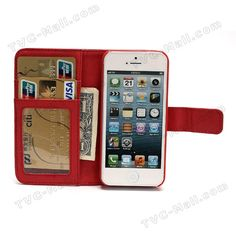 Detachable Crazy Horse Leather Wallet Folio Case Cover for iPhone 5 - Red