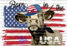 Sublimation Transfer (only) - Barn in the USA - patriotic - cow - heifer - heffa - t-shirt - can cooler Cow Decor, Cute Cows, Cow Art, Animal Sketches, Funny Animal Memes, Cute Crafts, Fourth Of July, Farm Animals, Diy Tumblers
