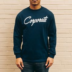 Corporate Script L/S (Navy) $35