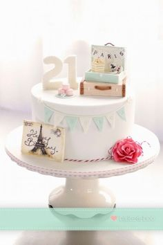 Birthday cake cake Storks & Babies gâteau de mariage fleuri / floral wedding cake Vintage travel themed cake by Bake-a-boo Cakes NZ. Cute Cakes, Pretty Cakes, Beautiful Cakes, Amazing Cakes, Fondant Cakes, Cupcake Cakes, Bake A Boo, Travel Cake, Travel Party