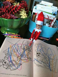 holiday ideas, shelf idea, bit funki, funny pictures, colors, elf on shelf, elves, coloring books, kid