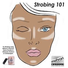 STROBING Get an illuminated look without the steps and layers of makeup associated with typical contouring and highlighting techniques. Strobing is the newest beauty craze for making features pop and it only takes seconds to do. All you need is the right illuminating products. This more natural, ethereal look solely focuses on highlighting where light would naturally hit your face. #strobing #makeuptutorial #mehronmakeup #facechart #preciousgems #highlight #makeuptricks #mehron