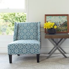 angelo:Home Barton Upholstered Midnight Blue Chair
