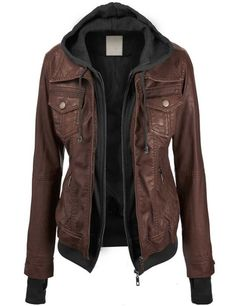 LL Womens 2-For-One Hooded Faux leather Jacket M COFFEE