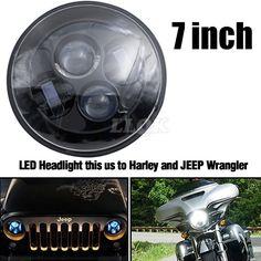 88.35$  Buy now - http://aliddy.worldwells.pw/go.php?t=32654550280 - Motorcycle LED Head Light For Harley Davidson Touring sportster 883 1200 electra street glide stichers softail road king 7 Inch 88.35$