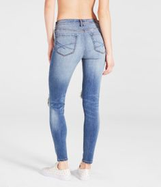 Seriously Stretchy Medium Wash Destroyed High-Waisted Ankle Jegging -