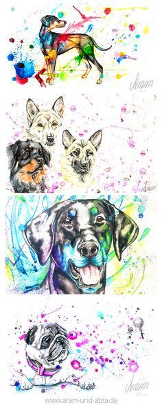 Zeichnungen Hunde, Aquarell, von Aram und Abra