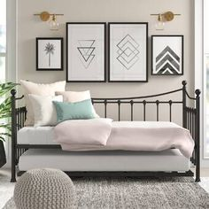 Daybeds & Guest Beds - Skiros Day Bed Frame with Trundle All Home Colour: Black - Small Room Bedroom, Home Bedroom, Girls Bedroom, Bedroom Decor, Spare Bedroom Ideas, Day Bed Decor, Spare Room Decor, Small Bedrooms, Bedroom Office