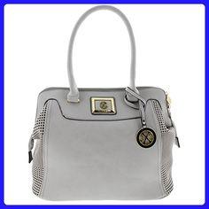 d273d803178 Christian Lacroix Womens Lola Faux Leather Satchel Handbag Gray Large - Top  handle bags (