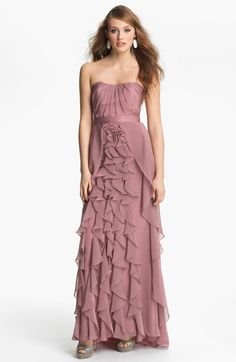 Dalia MacPhee Strapless Ruffle Chiffon Gown available at #Nordstrom