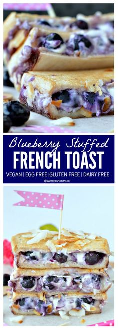 This healthy & Easy VEGAN Blueberry Stuffed French Toast is a perfect weekend breakfast. Crispy cinnamon bread with  creamy cheesecake like filling. A  clean eating breakfast.