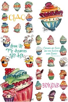 Cupcake Drawings by @Tahira Lubrano  #drawings #cupcake #cupcakes #cakes #pretty #watercolor #illustrations #artist #art #artistic #pens #cute #pretty #amazing #inspiration #painting #paint