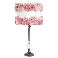 """Tiered table lamp with a ribbed glass orb and rose-adorned drum shade.  Product: LampConstruction Material: Metal and fabricColor: Pink, off white, and pewterAccommodates: (1) Bulb - not includedDimensions: 27.5"""" H"""