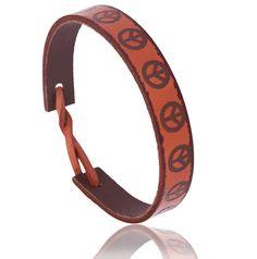 Bracelet homme cuir acajou peace and love