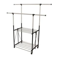 Shop Greenway Stainless Steel Collapsible Double-Bar Garment Rack at Lowe's Canada. Find our selection of garment racks at the lowest price guaranteed with price match. Drying Rack Laundry, Laundry Storage, Extra Storage Space, Storage Spaces, Storing Clothes, Steel Racks, Hanging Bar, Garment Racks, Wardrobe Rack