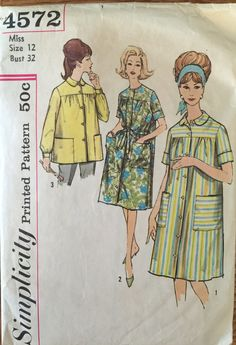 VTG 4572 Simplicity (early 1960's) misses' duster & smock.  Size 12 and Size 20.  Complete, unused, partially cut.  Excellent condition. by ThePatternParlor on Etsy
