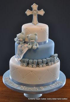 Baptism Cake Chocolate cake with mocha buttercream. Christening Cake Boy, Baby Christening, Baptism Cakes, Baptism Party, Baby Cakes, Baby Shower Cakes, Decors Pate A Sucre, Religious Cakes, Confirmation Cakes