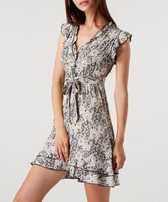 Take a look at this Cream Floral & Swirl Frill Dress by Izabel on #zulily today!