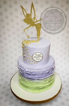 Girl Birthday Decorations, First Birthday Party Themes, Fairy Birthday Party, First Birthday Cakes, Birthday Cake Girls, Birthday Ideas, Tinkerbell Cake Topper, Tinkerbell Birthday Cakes, Tinkerbell Party