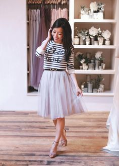 Tulle skirt with striped sweater for a fun engagement photo shoot or party outfit