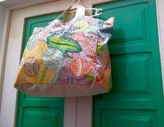 Bolso de playa pintado a mano, bolso para la mañana y la tarde, bolso de compras, estampado a mano, pintado a mano, bolso de verano.
